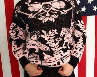 Black & pink knit sweater