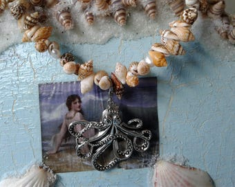 Octopus, Seashell & Genuine Pearl Necklace