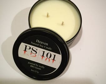 8oz natural soy candle black metal tin Heaven Feagrance