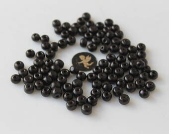 100 wood beads 5 mm black - creating jewelry - bracelet - men - woman