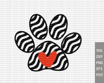 Paw Print SVG, Dog Paw Print, Paw Print and Heart SVG Cut File, svg, instant download, eps, png, pdf Cut File, svg file, dxf Silhouette