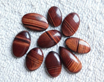 Lot ! Top quality Brown Tiger Eye and 1 Diwali Gift free Cabochons Tiger Eye Excellent cabochons Amazing loose gemstone 159.60cts, 9 Pieces.