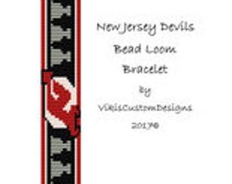 New Jersey Devils Bead Loom Bracelet Pattern by VikisCustomDesigns