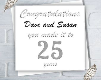 Personalised 25th Wedding Anniversary Card, 25 Years, Silver Wedding Anniversary, Free UK Shipping
