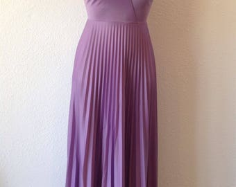 1970s Lavender Pleated Maxi Dress