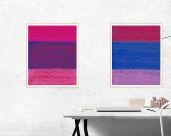 Abstract Print, Red and Blue Print, Set of 2 Prints, A4 Prints, Abstract Art Print Set, Abstract Art Print, Minimalist Print, Modern Print