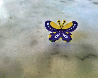 Colorful wooden butterfly ring