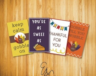 Thanksgiving Lunch Box Notes - Instant Download - Printable Notes