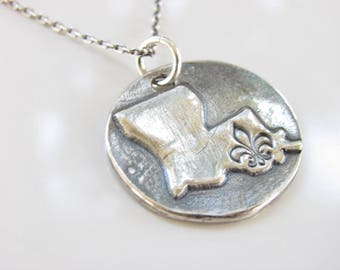 Louisiana State Rustic Disk Necklace - Hand Made from Fine Silver on a Sterling Chain - Made to Order - Louisiana Jewelry with Fleur de Lis