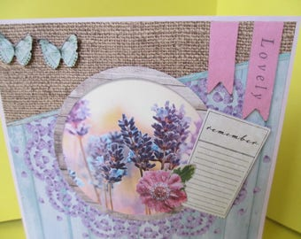 Card 3D (relief) lavender and green butterflies