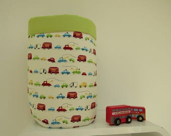 Fabric storage bucket, fabric toy storage, baby changing bucket, new baby gift, vehicles print, london bus print,