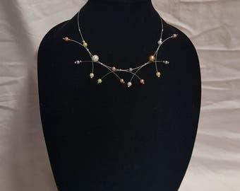 Fireworks Pearl Necklace and Earrings