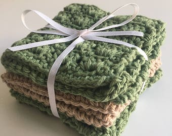 Cotton Dishcloths - Set of 3 - Sage Green/Beige