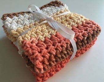 Cotton Dishcloths - Set of 2 - Coral/Brown/White/Yellow