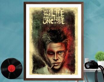 Fight Club Alternative Minimalist Artwork Movie Print Poster , Brad Pitt , Edward Norton Canvas/Matt/Silk A4/A3/A2