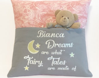 Dreams Reading Pocket Pillow - Reading Pillow, Pocket Pillow, Dreams are what Fairy Tales are made of, Nursery Gift, Nursery Decoration