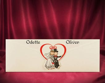 Romantic Wedding Invitation Card, Love Heart Wedding Invitations with Newlyweds, Personalized Printing, Free Shipping