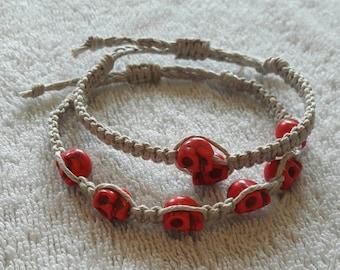 Howlite skull organic hemp bracelets