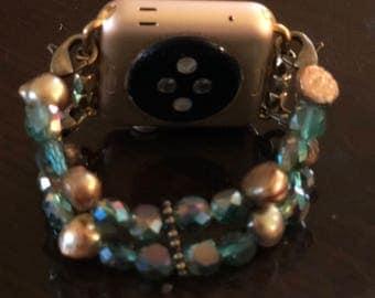 Azul and Abalone...Beautiful Apple Watch Bracelet Band.  Totally Customizable!
