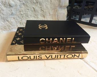 BLACK & GOLD DESIGNER Books, 2 Books, Chanel, Louis Vuitton Decorative Books, Coco Chanel Book, Luxury Designer Home Decor, Housewarming