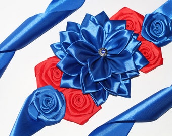 Navy blue sash Blue and red sash Bridal sash Maternity Sash Baby Shower Blue flower belt Flower sash Navy Belt Maternity sash Flower sash