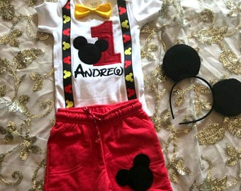 Mickey mouse boys birthday outfit, first birthday boy outfit, Mickey set, Mickey mouse birthday shirt, Mickey mouse personalized outfit