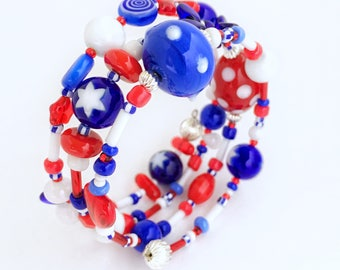 Red White and Blue Bracelet Stack, Fourth of July Jewelry, USA, Jewelry for Girls, memory wire bracelet 4th of July Child Bracelet Patriotic