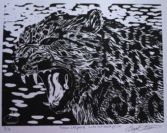 Snow Leopard Block Print