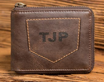 Zipper Wallet, Personalized Monogram, Gifts for Men, Gifts for Dad, Gifts for Him, Retirement, Groomsman Gift, New Job Gift, Christmas, Zip