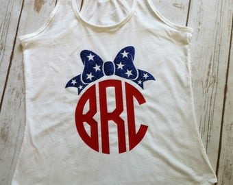 4th of July Tank Top 4th of July Bow Monogram Shirt