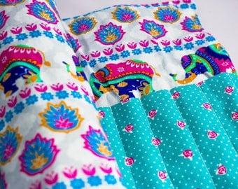 Elephant/Blue Rose Print Makeup Brush Roll/Holder/Organiser