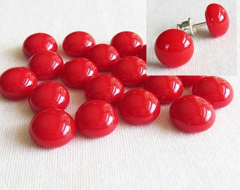 Red Cabochon 9-10mm (18 cabs) Small Cabochon Fused Glass Cabochon Round Cabochons Simple for Post Earrings Jewellery