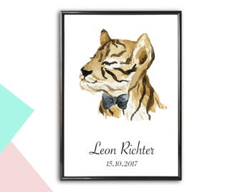 Personalized image tiger with name and date | to Birth | Personalized Baby Gifts | With or without frame