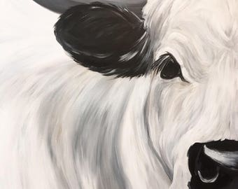 16x20 acrylic on canvas British White Cow
