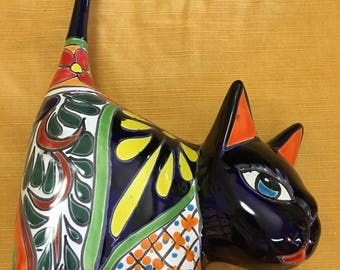 Talavera cat/ cat statue / cat ring holder / Mexican cat/ garden statue / Mexican folk art/ gato/ gato de talavera/ cat figurine