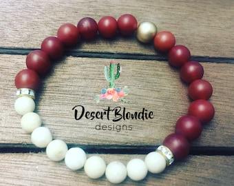 Matte Red Carnelian & Riverstone Bracelet