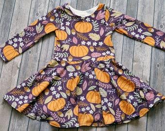 Pumpkin Dress. Thanksgiving Dress. Fall Dress. Baby Dress. Toddler Dress. Little Girl Dress. Twirl Dress. Play Dress. Twirly Dress.