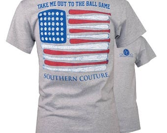 Southern Couture Classic Out To The Ballgame Grey Short Sleeve Tee Shirt