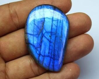 1 pcs 84 Cts. AAA 47X32X6mm 100% Natural Blue Fire Labradorite Fancy Cabochan Jewelry making handmade Gemstone