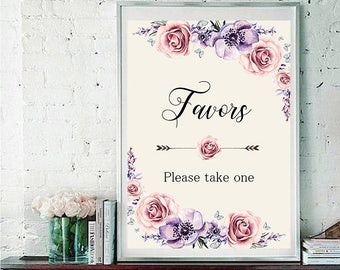 Favors Wedding Sign Digital Floral Lilac Violet Purple Vintage Wedding Boho Printable Bridal Decor Gifts Poster Sign 5x7 and 8x10 - WS-033