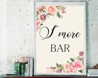 S more bar Wedding Sign Digital Floral Blush Pink Peach Roses Wedding Boho Printable Bridal Decor Gifts Poster Sign 5x7 and 8x10 - WS-032