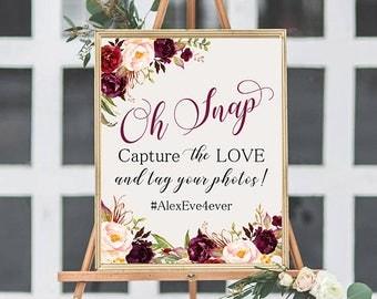 Oh Snap Hashtag Wedding Instagram Sign Marsala Burgundy Floral Peonies Boho Digital Wedding Sign Bohemian Wedding Fun Hashtag Poster WS-024