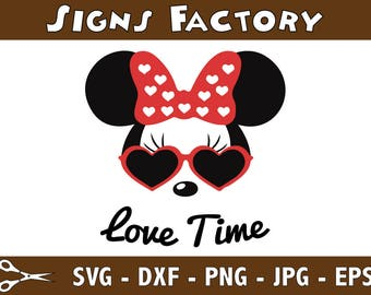 Minnie Mouse Love Time SVG files, Minnie svg, Minnie mouse silhouettes, Minnie mouse clipart disney svg files for silhouette cricut download