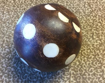 Solid wood vintage decorative ball with bone inlay!