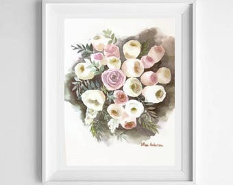 ORIGINAL watercolor painting, 11 x 15 inches, Original bouquet, Wedding bouquet, Bouquet watercolor, Gift for woman, Gift for wife, Roses