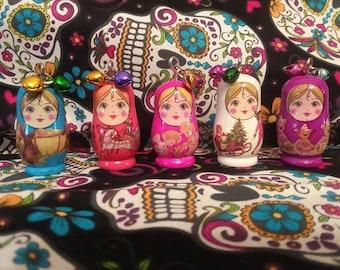 Russian nesting doll matryoshka charm necklace