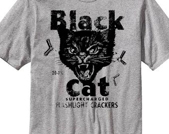 Black Cat Halloween T-Shirt Fireworks Vintage Inspired T-Shirt