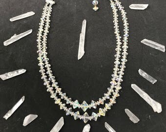 Vintage Aurora Borealis Crystals, Graduating Bicone Beads, Two Stand Necklace.