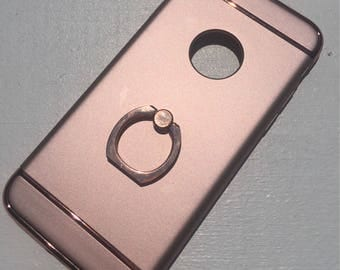 iPhone 7 Rose Gold w/ Rose Gold Ring Stand Phone Case
