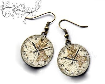 Time zone world planet, old map earrings. E200